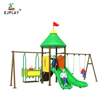 Outdoor Playground Two Slides Equipment Swing