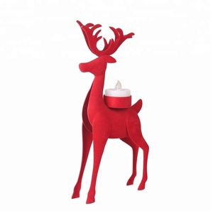 Beautiful Unique Metal Decorative Christmas Red Reindeer Candle Holder