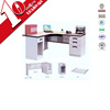 Factory direct luxury office computer desks supplies/white wooden top metal office employee table with side 3 drawers