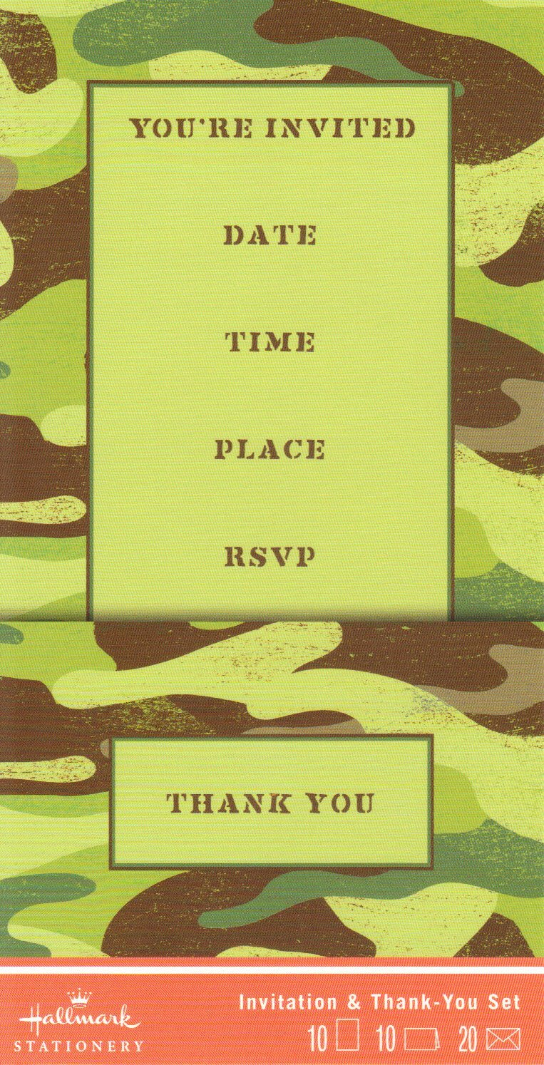 HALLMARK STATIONERY Thank you & You're Invited Cards (Green Military-Style Camouflage Design: Stationary Cards) 1 Box includes - 10 Blank cards & 10 Envelopes (NCT8881)