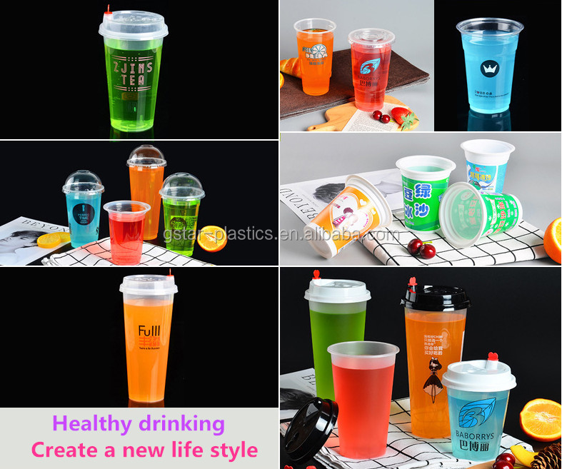 Square Shape Injection Molding PP Plastic Cups for Boba Bubble Tea 400ml 500ml 600ml with Square Lid