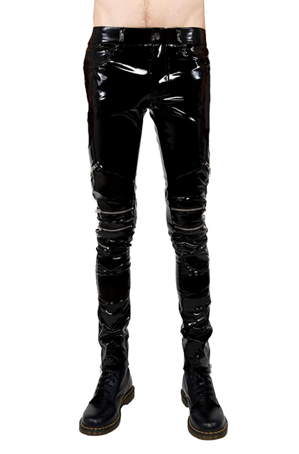 a346adab8d6af3 Get Quotations · Lip Service Gothic Punk Rocker Moto PVC Vinyl Black Shiny  Wet Look Zip Jeans Pants