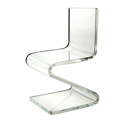 Clear yellow Acrylic Z shape leisure Chair back