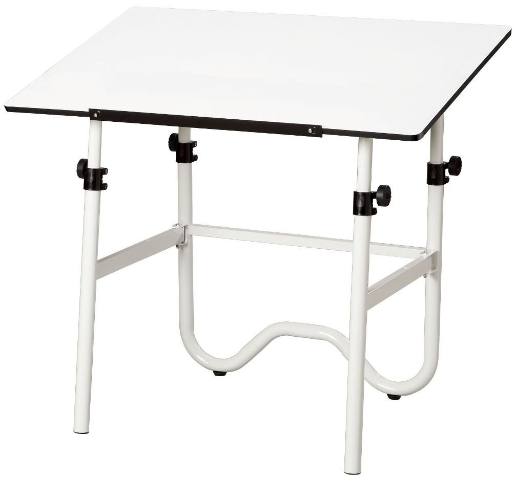 "Alvin ONX40-4 Onyx White Base with White 28"" x 42"" Top, Sturdy 1 1/2"" diameter tubular steel frame, Easily adjusts from 29"" to 44"" in the horizontal position and tilt from 0° to 45°"