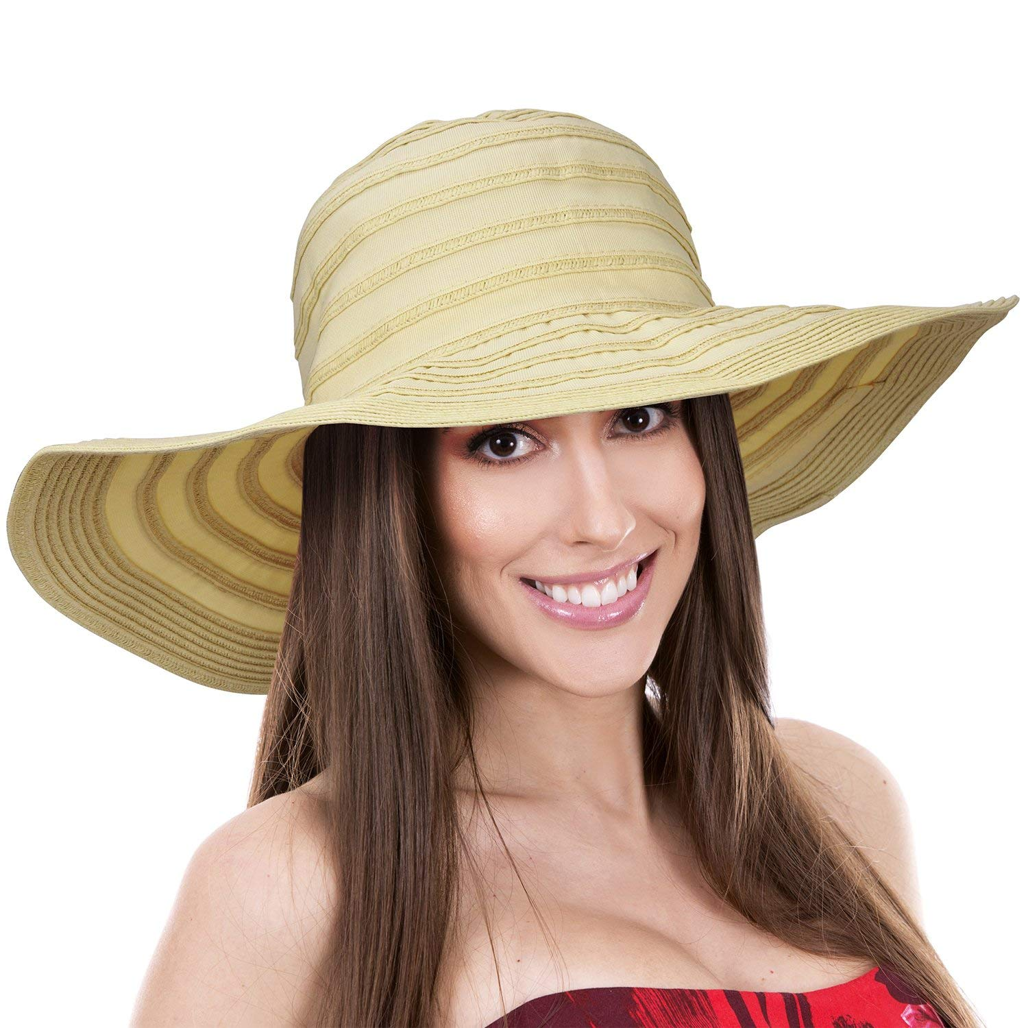 Get Quotations · Womens Sun Hat w Floppy Brim Straw Edge Foldable Gardening  Hiking Beach Cap 84b969ecabb