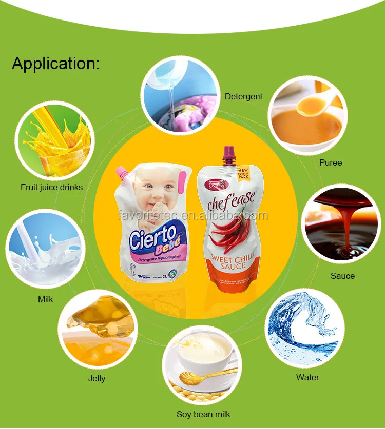China Supplier Dishwashing Liquid Detergent Standing Up Spout Pouch For Liquid Packaging Bags