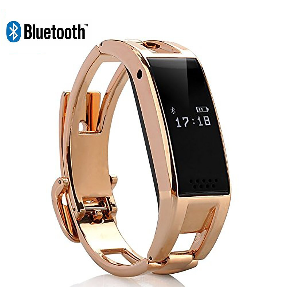 Elephone W1 OLED MTK6260 Bluetooth Phone Smart Watch Wristband Bracelet Watches Sync Call SMS Music For IOS iphone (Part Function) Android (Gold)
