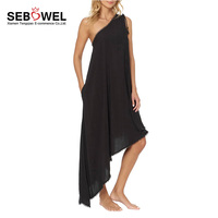 Women Casual Asymmetric Summer Maxi One Shoulder Cover Up Beach Dress