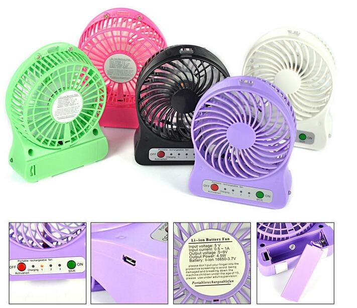 2017 New Product Usb Table Rechargeable Mini Fan with Led Lights