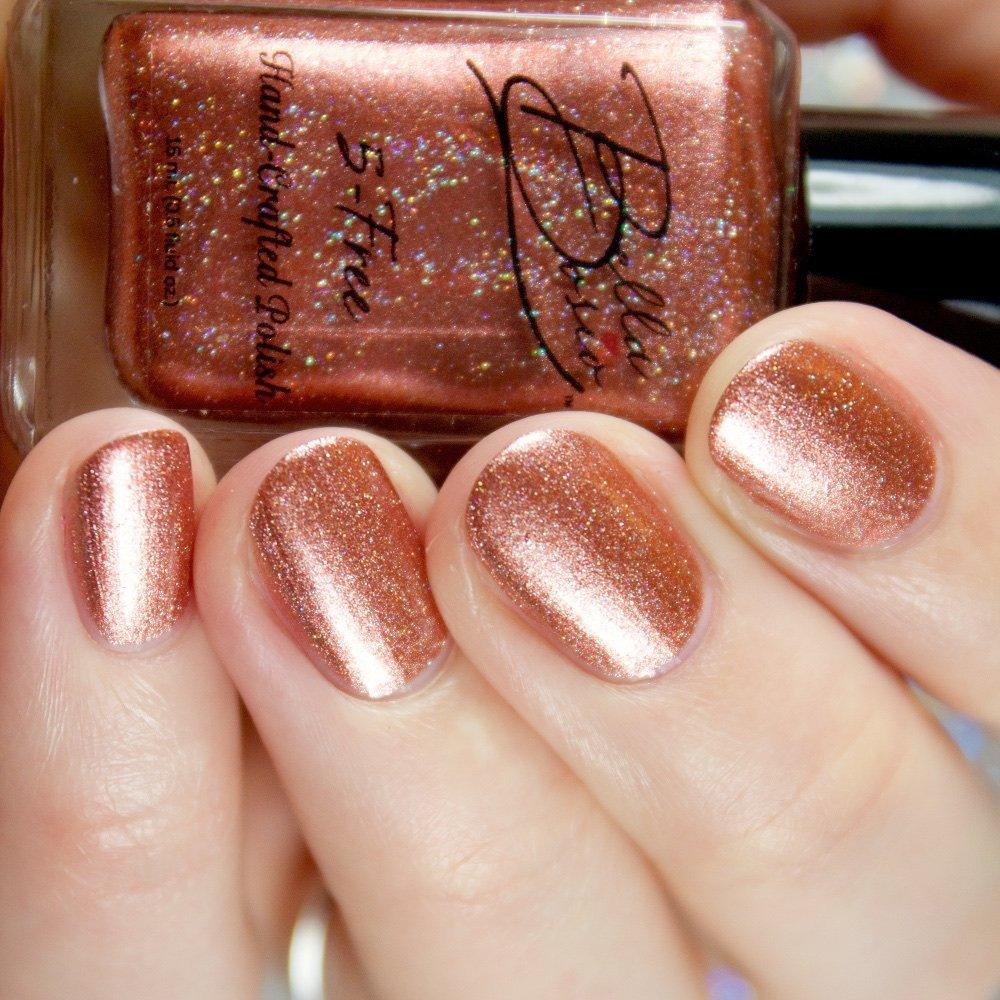 Bella Bosio Long Lasting 5Free Hand Crafted Metallic Nail Polish - Rosegold Mine (rose gold metallic with glitter,nail polish)