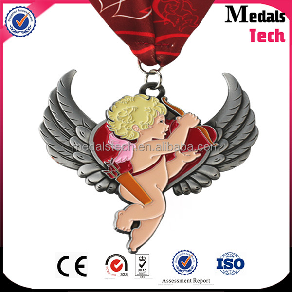 2017 Love Cupid shape Valentine's Day item double soft enamel glitter Marathon medals for souvenir
