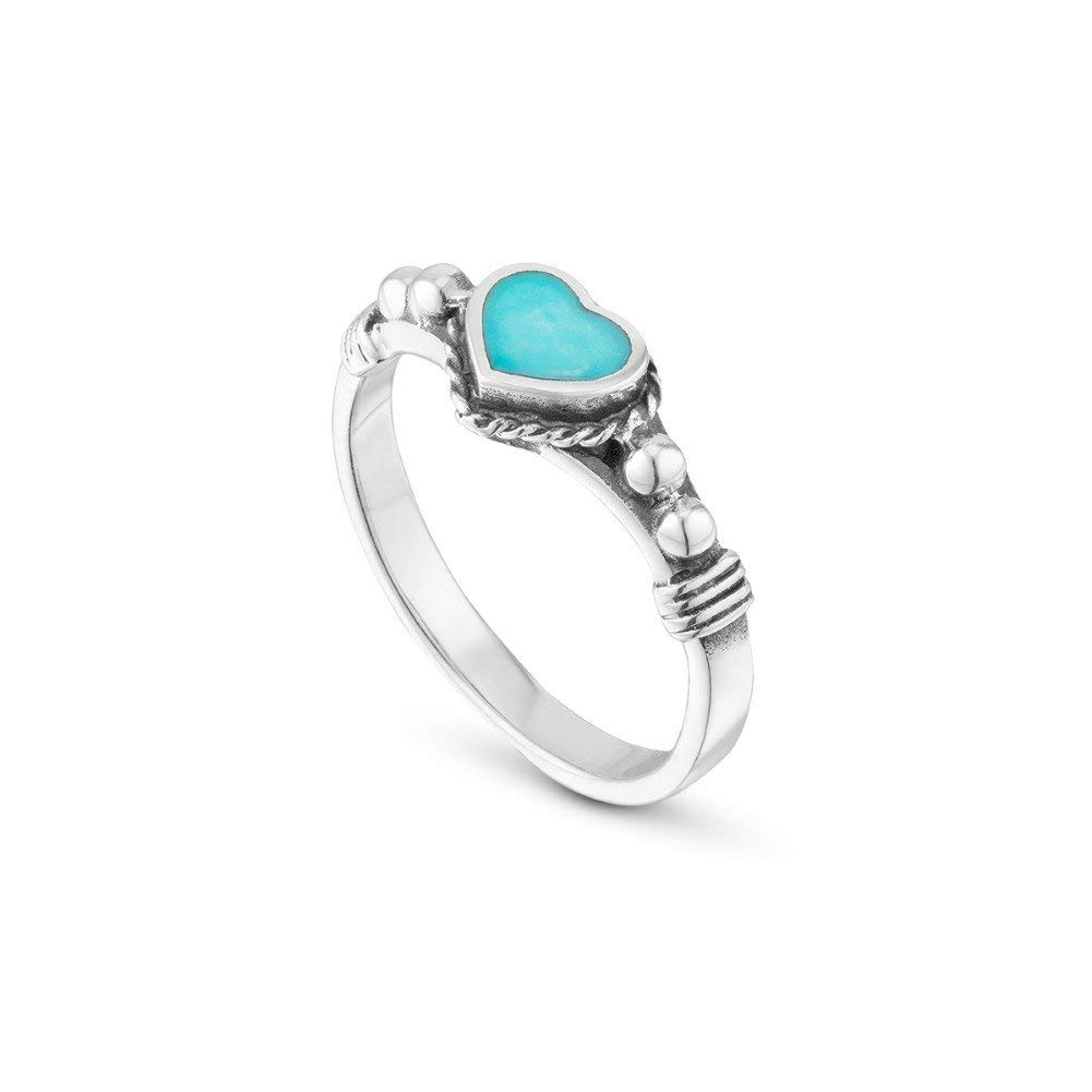 925 Sterling Silver Band Ring Delicate Turquoise Heart Solitaire Ring