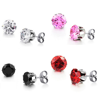 Wholesale Stainless Steel Round Clear Cubic Zirconia Stud Earrings Women, Picture