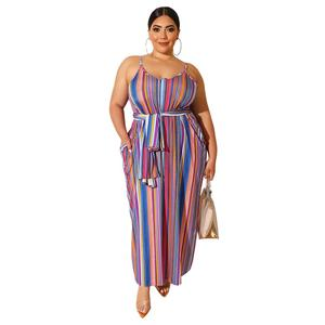 New arrival casual plus size women fashion striped print loose sleeveless sashes long dress