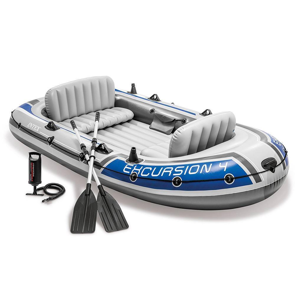 INTEX EXCURSION 4 <strong>BOAT</strong> SET 68324 excursion fishing sport series <strong>boat</strong> Inflatable water Air <strong>Boat</strong>
