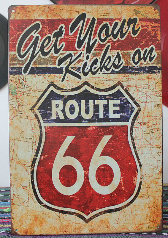 Free Shipping Get Your kicks on Route 66 Antique Motor Oil, Vintage, Rustic, Metal, Tin Sign for the Garage/Man Cave 20*30 CM