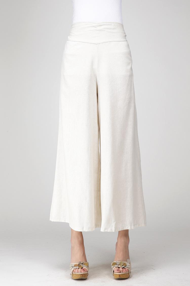 2019 Wide Leg Pants Women White Linen Cotton Trousers Plus