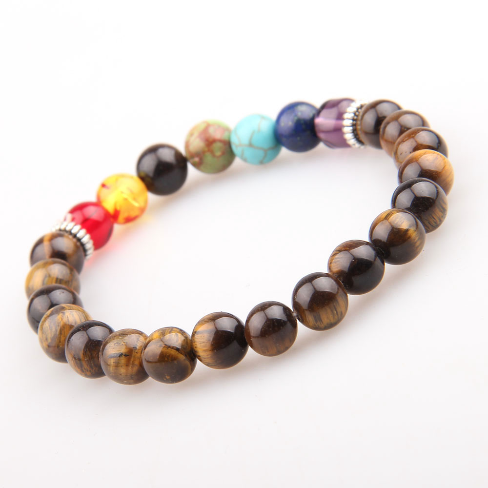 Wholesale explosions natural 7 chakra tiger eye stone bracelet friendship bracelet фото