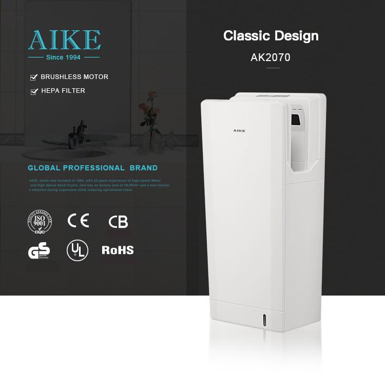 AIKE Wholesale ABS Plastic Automatic Sensor Airblade Hand Dryer