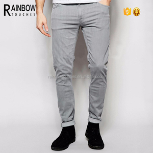 Wholesale Latest Designs Fitted Man Jeans in Grey Storm