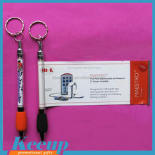 Promotional Professional Retractable Cheap Banner Pen with keyring