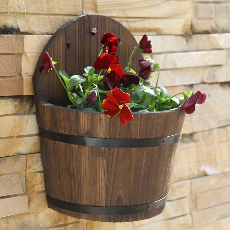 bois massif la corrosion d coration murale fleurs barils suspendus mur en bois pot de fleur en. Black Bedroom Furniture Sets. Home Design Ideas