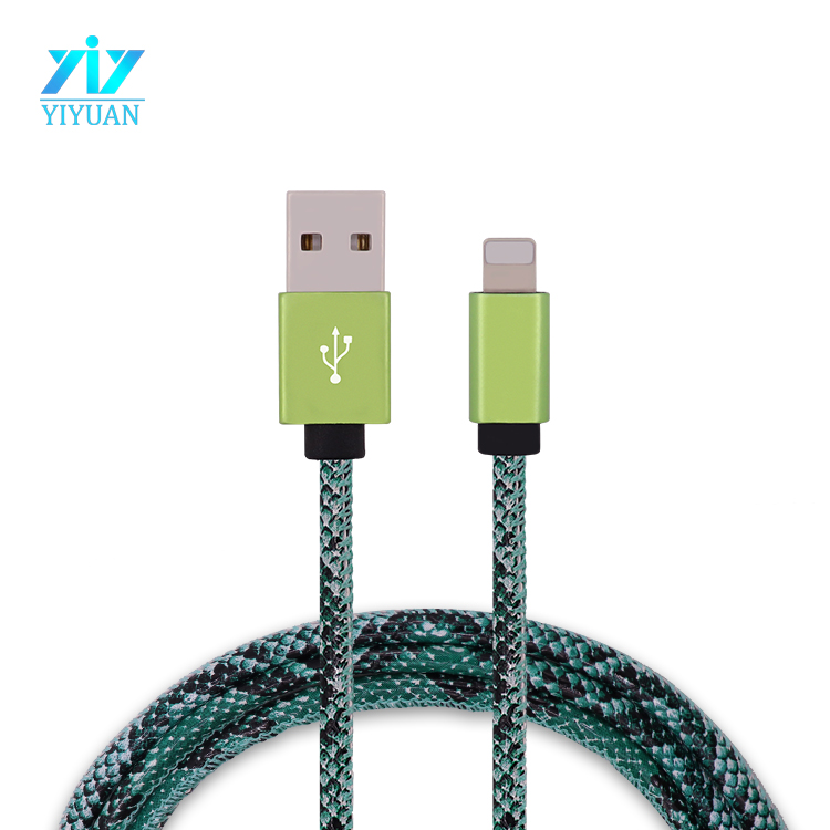 New design snake leather usb charger cable for iPod MP4 video charging usb data cable