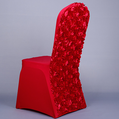 Red Color Polyester Spandex Chair Cover For Banqut Rose Flower Satin Wedding Hotel Spandex Chair Covers