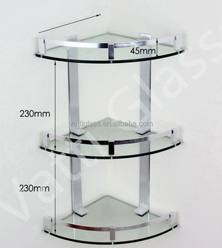 Bathroom Glass Corner Shelf/Kitchen Glass Shelf / Three Layers Glass Shelves
