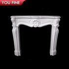 Professional Hand Carved Artificial White Marble Fireplace Surround