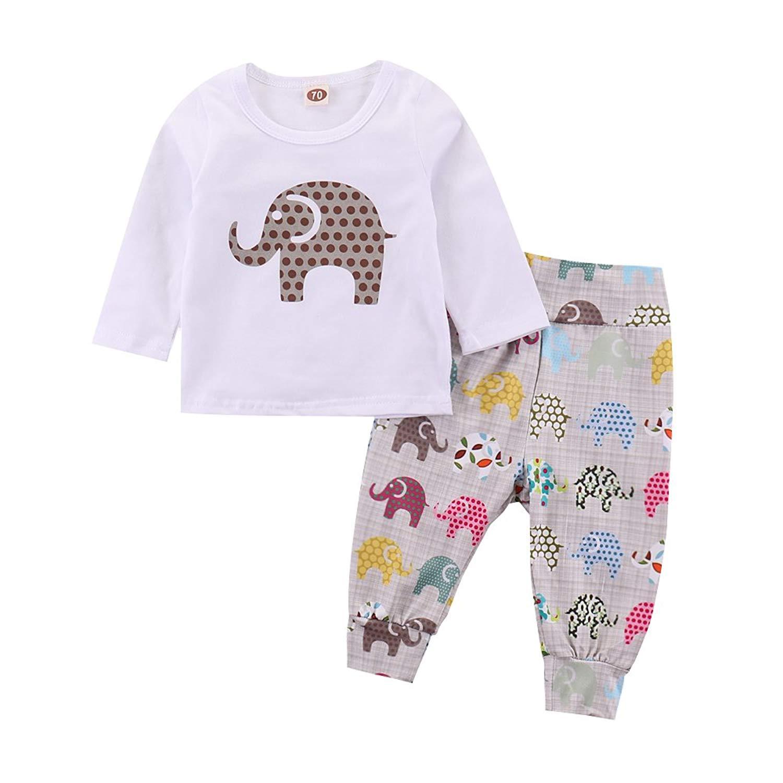 Newbron Baby Boy Girl Elephant Print Long Sleeve Romper+Multicoloured Pant Clothing Set
