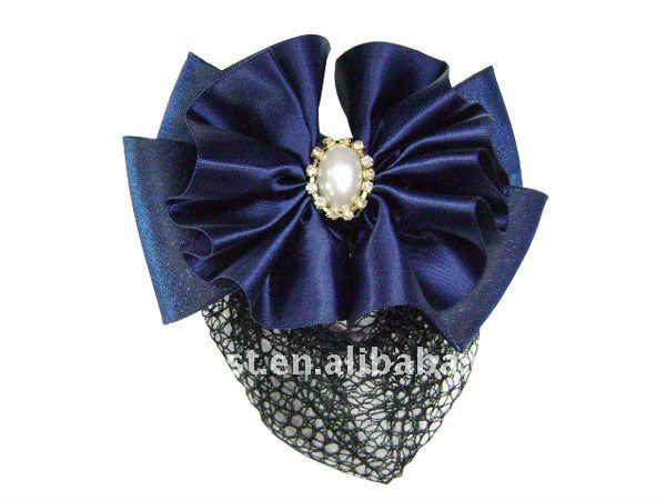 Royal Blue Cloth Hair Barrettes With Net Snood