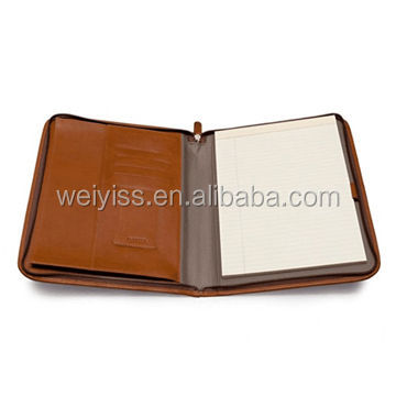Custom faux leather file holder with  plastic inner page for office