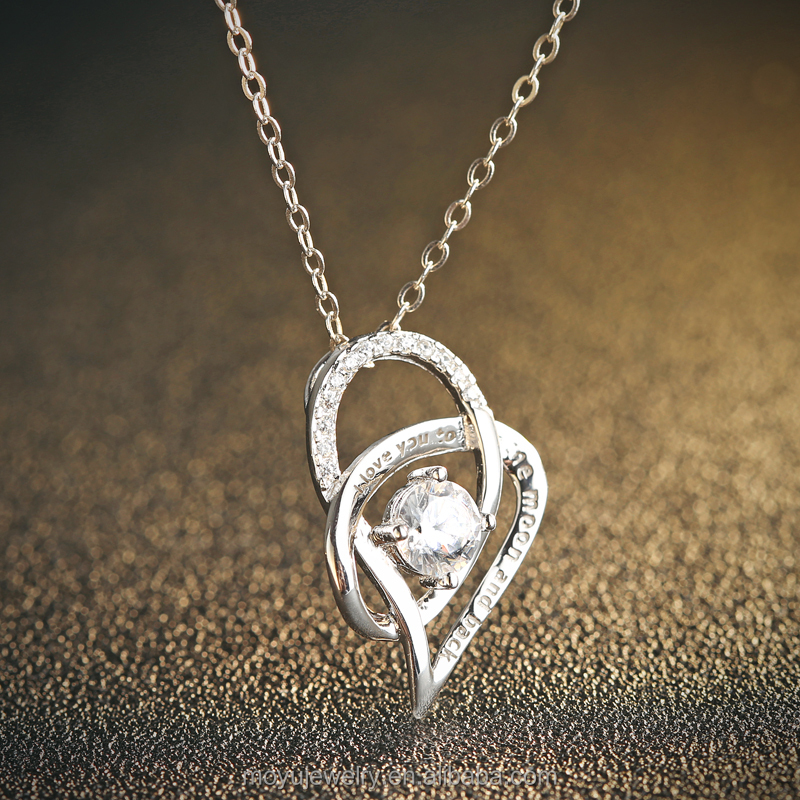 sterling silver engraving I love you to the moon and back heart zircon pendant