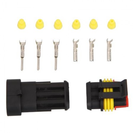 LEYI 5 Kit 3 Pin Way Waterproof Electrical Wire Connector Plug