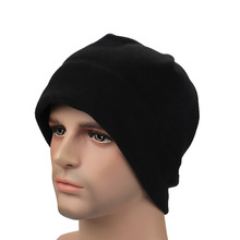 winter unisex fleece beanie two-faced plush cloth beanie hat outdoors plain cycling hats