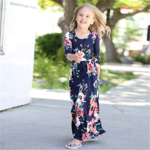 Girls Floral Print Dress Kids Casual Long Sleeve cotton Full Dresses O-neck Girl's Clothes