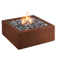 Outdoor heating corten steel square patio fire pit propane fire pit