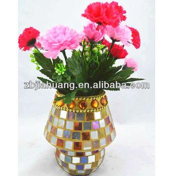 Flower Vaseglass Mosaic Vases Hand Paint Work Buy Glass Mosaic