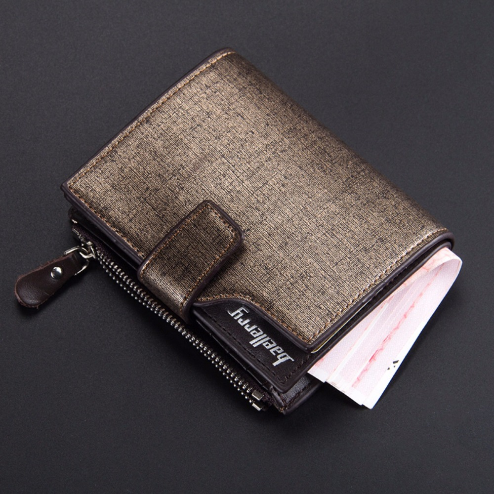Baellerry creative new men's zipper purse three fold multi-functional buckle short <strong>wallet</strong>