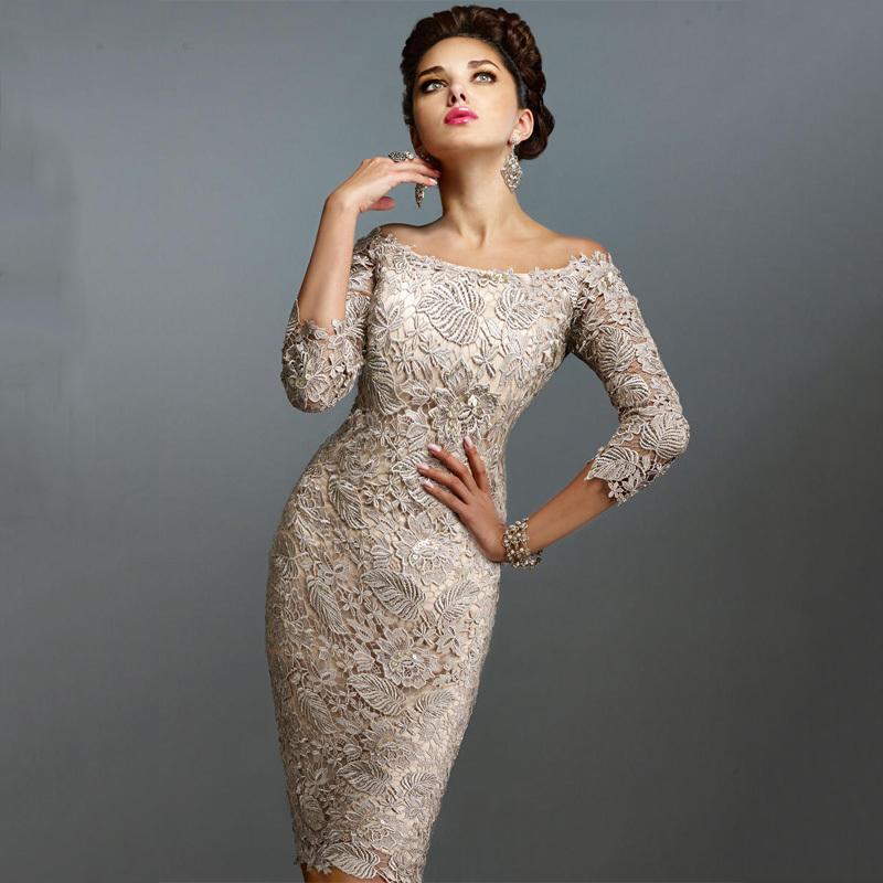 Champagne Lace Short Dress: Champagne Vintage Lace Short Prom Dresses Off The Shoulder