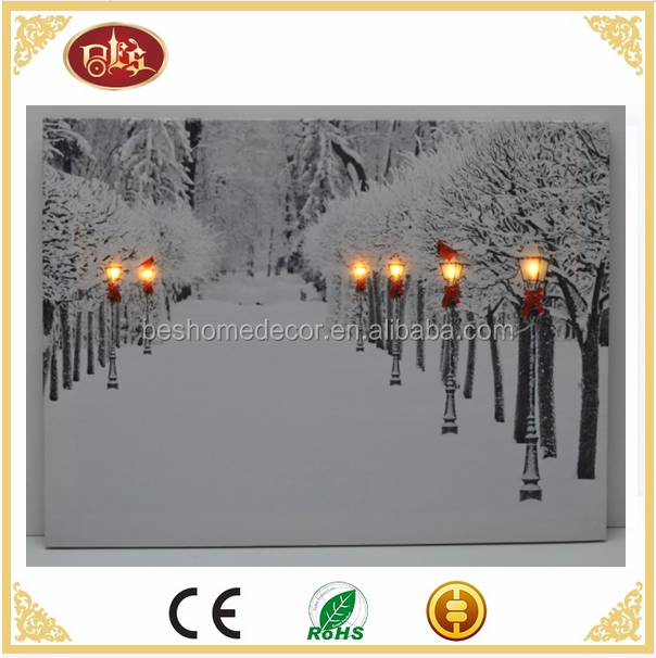 LED & Fiber Optic Lighted Cardinals Winter Snow Scene Wall Canvas Picture LED picture canvas