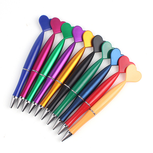 HUAHAO brand promotional Fashion slim plastic pen kids ballpoint pen with heart shape on the top ball-point pen