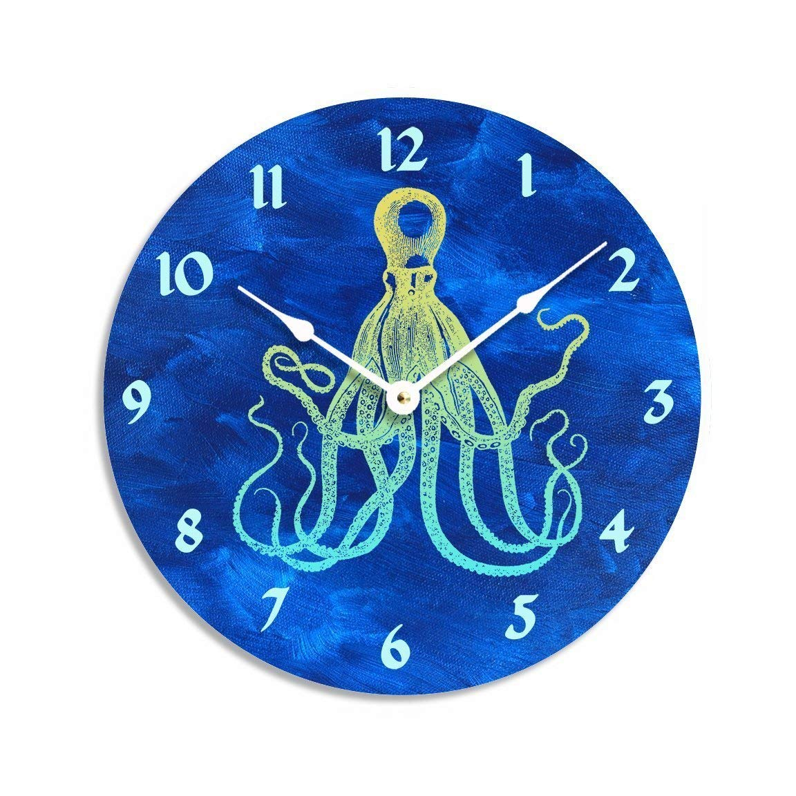 Vintage octopus design on dark blue acrylic painted background 10 inch wall clock. Dark blue, yellow and green colors.