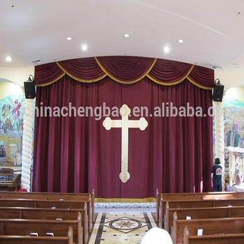 Mororized Velvet Fabrics Flame Retardant Blackout Stage Church Curtains