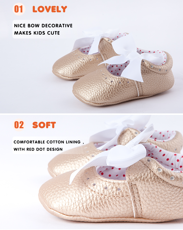 New Born Baby Girls Princess Bowknot Soft Sole Crib Shoes
