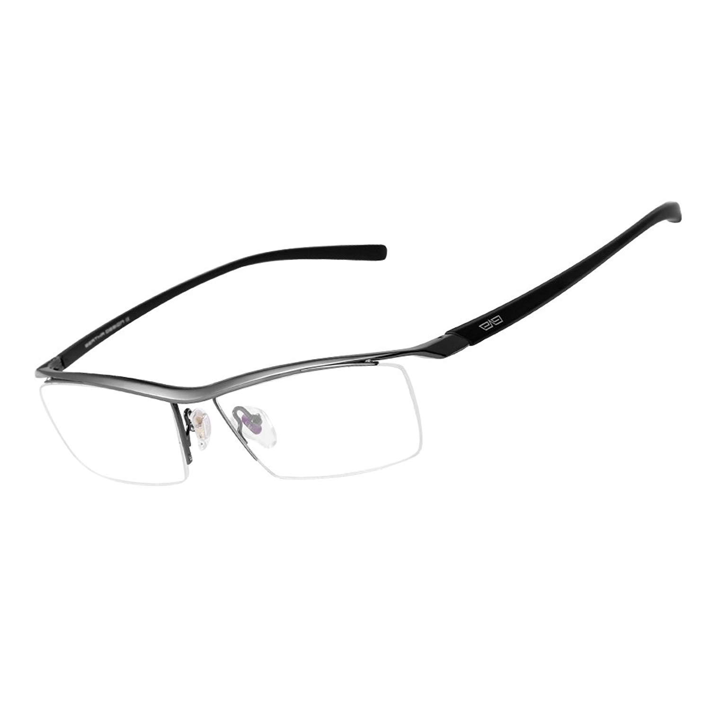 31d8a811945 Get Quotations · Bertha Men Z Pure Titanium Semi-rimless Eyeglasses  Business Prescription Optical Frame 8189