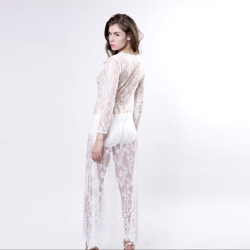 883b975ee6623 Summer Women Maxi Sleep Dress Sexy Lace nightgowns Deep V Sexy Dress Long  Sleeve Black White sleepwear nightwear Big Size