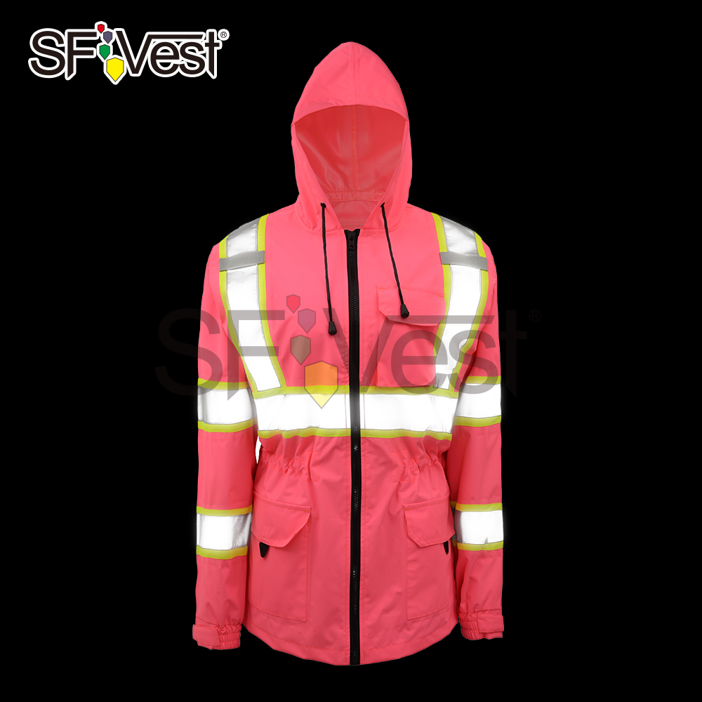 New Product Pink Light Weight Waterproof Safety Reflective Raincoat Jacket