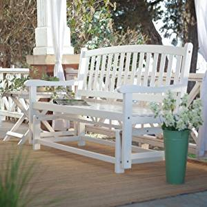 Coral Coast Coral Coast Pleasant Bay 4 ft. Curved Back Outdoor Glider Loveseat -, White, Wood by Coral Coast